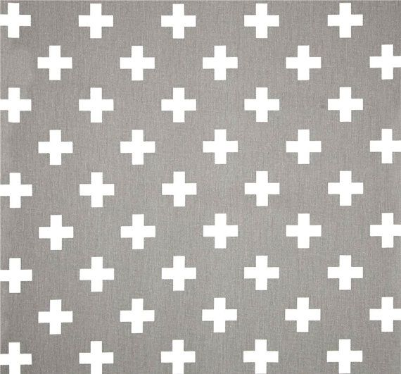 Grey & White Cross Cotton Fabric by the Yard, Designer Contemporary Home Decor Fabric Drapery or Upholstery Fabric, Neutral Grey Fabric G144 Fabric