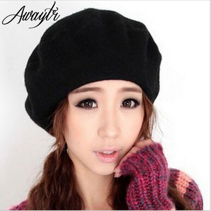 Damska ciepła jesień/jesień wełna zima słodkie stałe garbić czapka beret francuski artysta stretch elastyczny cap kapelusze valentine 12 kolory