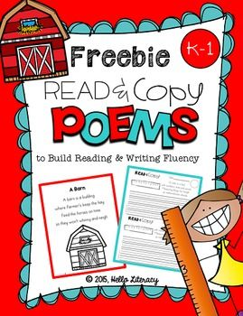 FREE Sampling of Poems for Building Reading Fluency & Writing Stamina (K-1)