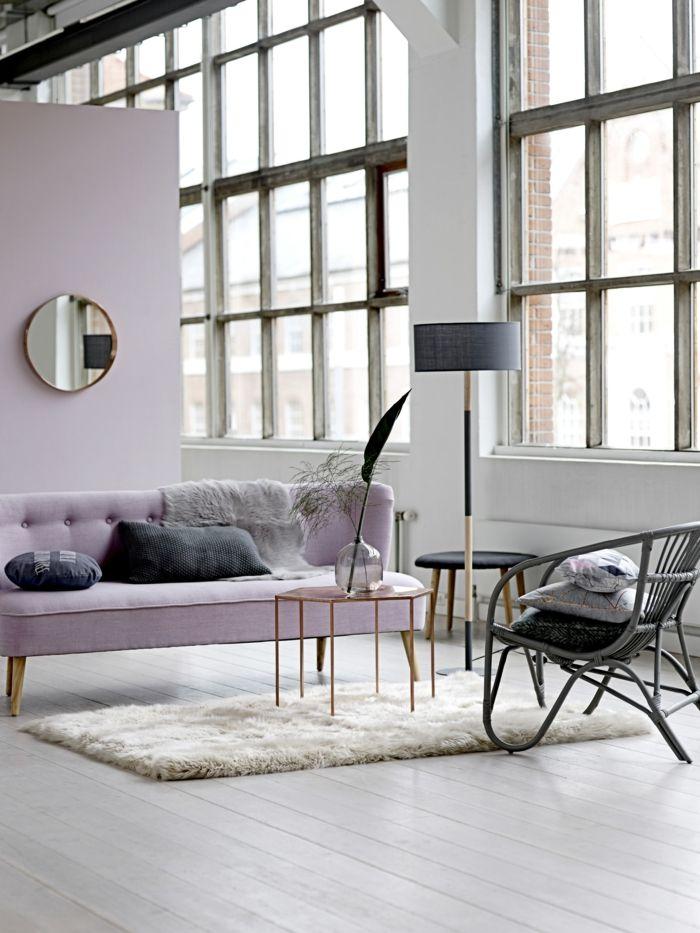 zimmer einrichten ideen wohnzimmergestaltung ideen hellrosa akzentwand sofa