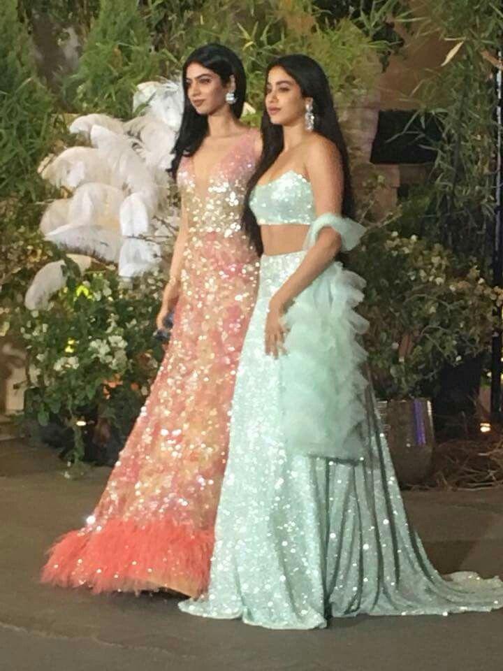 Sridevi Ji S Daughters Jhanvi And Khushi Kapoor At Sonam Ahuja Wedding Designer Dresses Indian Bridal Outfits Lehnga Designs