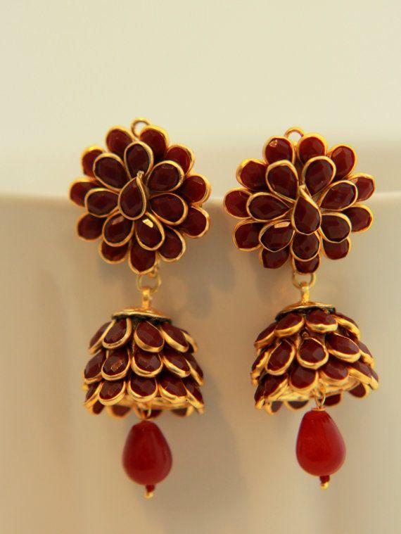Dangler Jhumka Earrings, Ethnic Indian Earrings,  Deep Red & Gold Jhumka Earrings