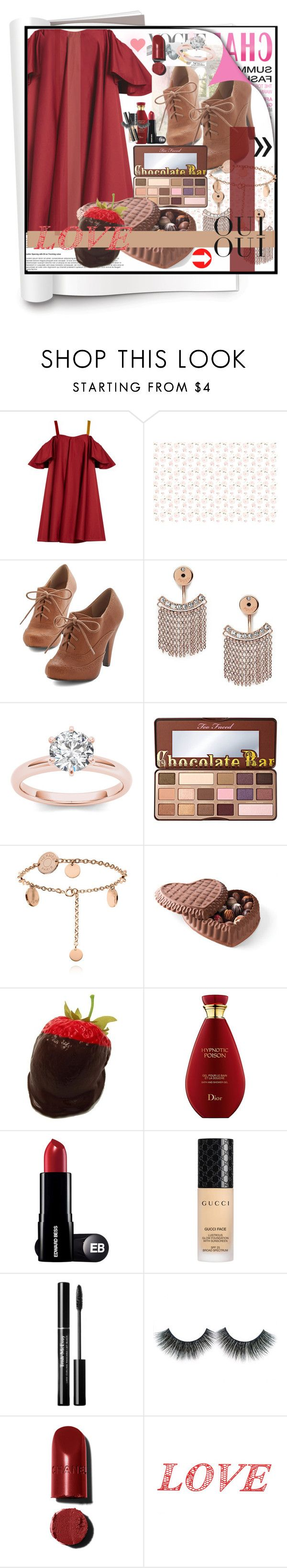 """""""Running Late"""" by clairabel16 ❤ liked on Polyvore featuring Anna October, FOSSIL, Too Faced Cosmetics, Gucci, Oui and WALL"""