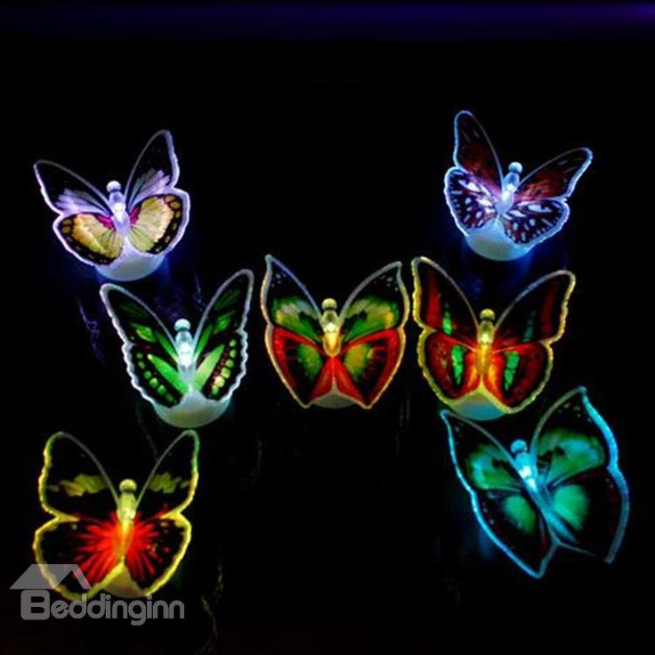 Hot Selling Alluring Creative 10-Pieces LED Butterfly Sticky Night-light