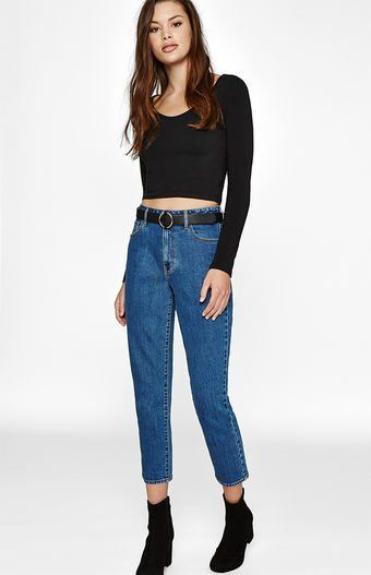 57202fdce62b PacSun helps you stay ahead of the trend in their retro-inspired Mum Blue Mom  Jeans. Made from a stretch denim fabric, these mom jeans are complete with  a ...