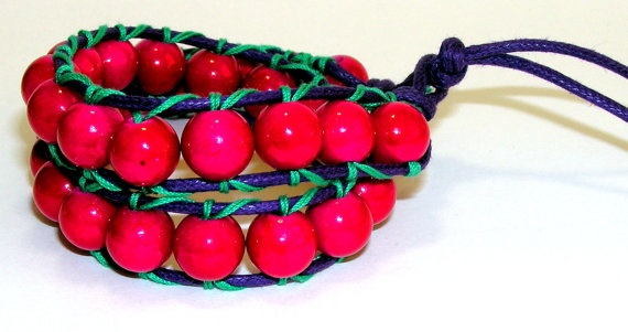 Fuchsia beaded double wrap bracelet by Sinners on Etsy