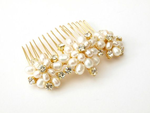 Wedding Pearl Hair Comb Gold Bridal Hair by jewellerymadebyme, £30.00