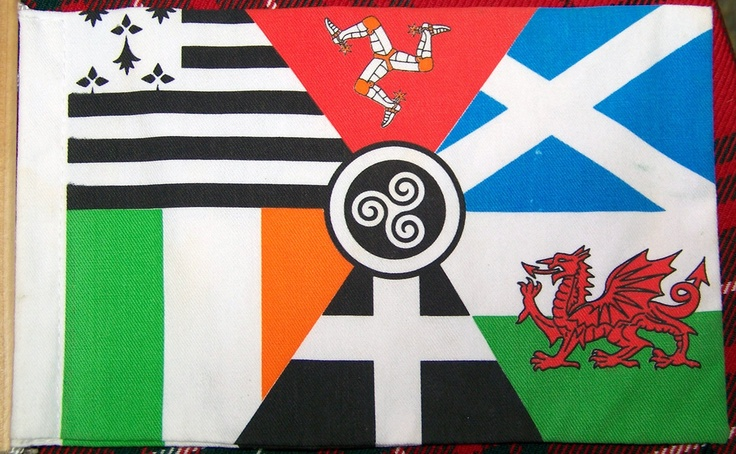 Pan-Celtic Flag, or Celtic Nations Flag, or Celtic Collage Flag.  A composite of the flags of six Celtic nations - clockwise from the upper left (hoist): flag of BRITTANY, flag of the ISLE OF MAN, flag of SCOTLAND, flag of WALES, flag of CORNWALL(England), flag of IRELAND. A triskelion, an old pagan Celtic fertility symbol, is in the center (also sometimes called a triskele or a triskell). Other ancient European cultures seem to have used it, as well.