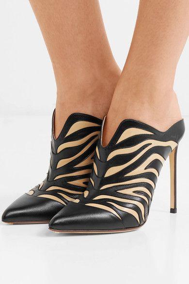 962bfd442f07 Francesco Russo | Zebra-appliquéd leather mules | NET-A-PORTER.COM ...