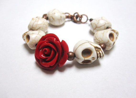 Day Of The Dead Bracelet Sugar Skull Jewelry by sweetie2sweetie, $21.99
