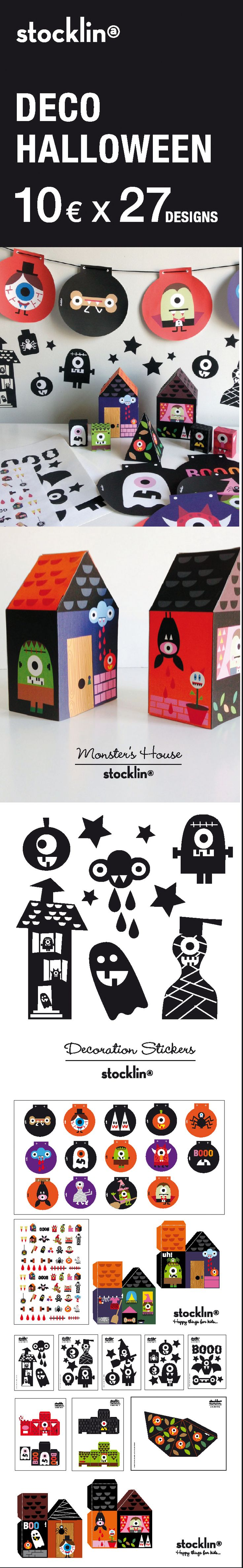 THE FUNNIEST HALLOWEEN DECORATION KIT Monster´s deco houses, Stickers, Tattoos, Garlands Do you want them? Buy them all here: http://stocklina.bigcartel.com/product #Halloween #Illustration # Kids #Decoration #Lastminute