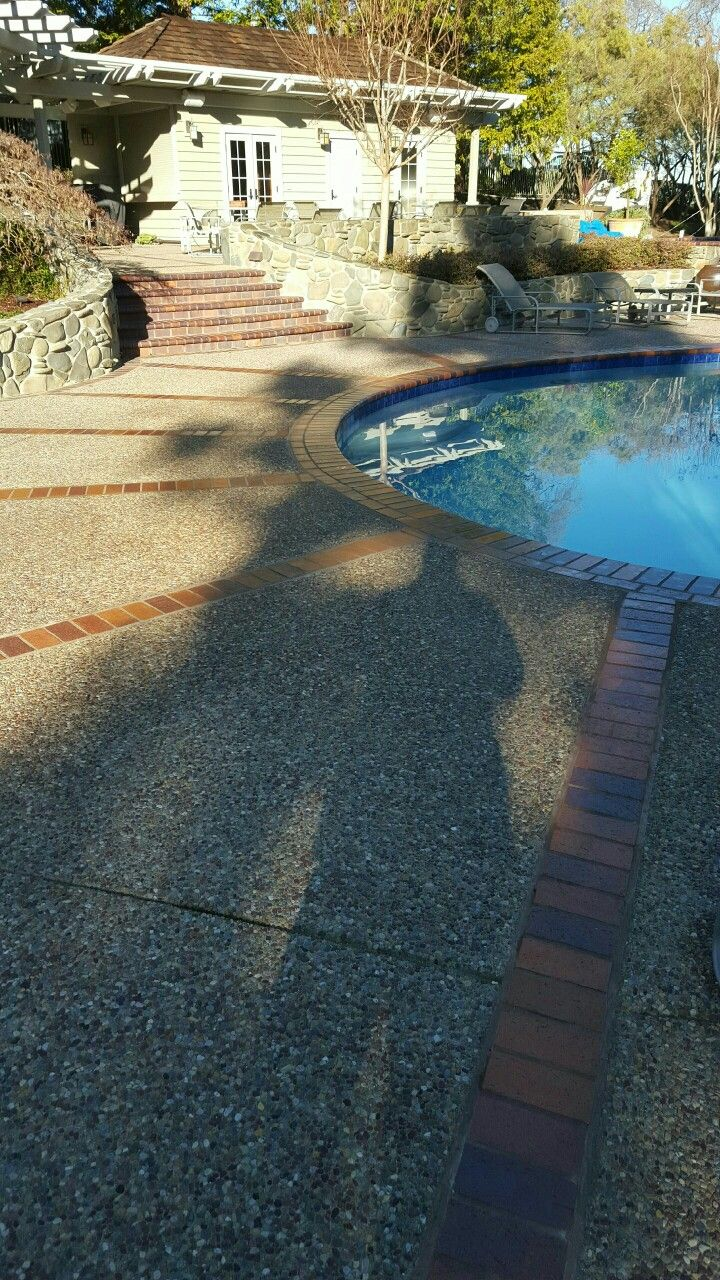 Sealing exposed aggregate pool deck - Exposed Aggregate Pool Deck With Brick Dividers By Krcc