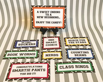 Graduation Candy Signs set of 8  Candy Bar Sign  Candy Sign