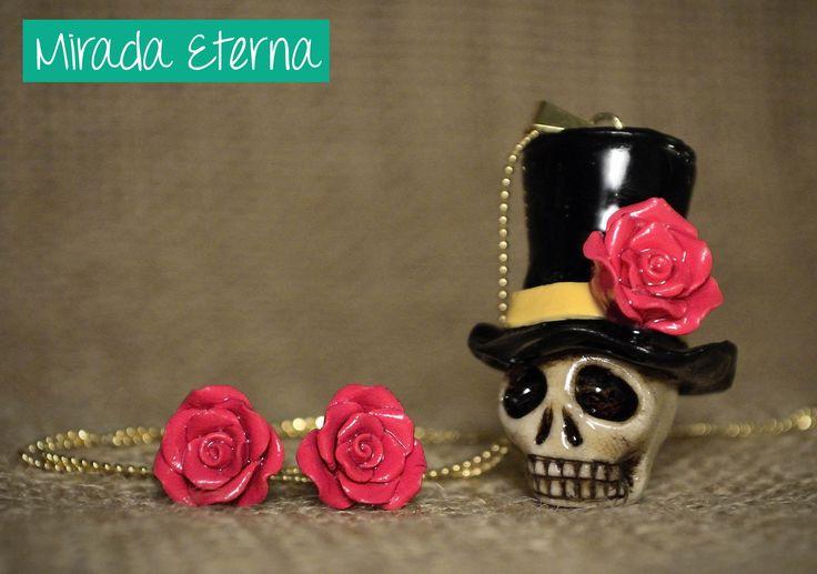 Calavera sombrero con rosa!