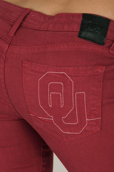OCJ Apparel | Premium Collegiate Denim | Oklahoma Sooners Skinny Jeans Branded in Crimson | www.ocjapparel.com
