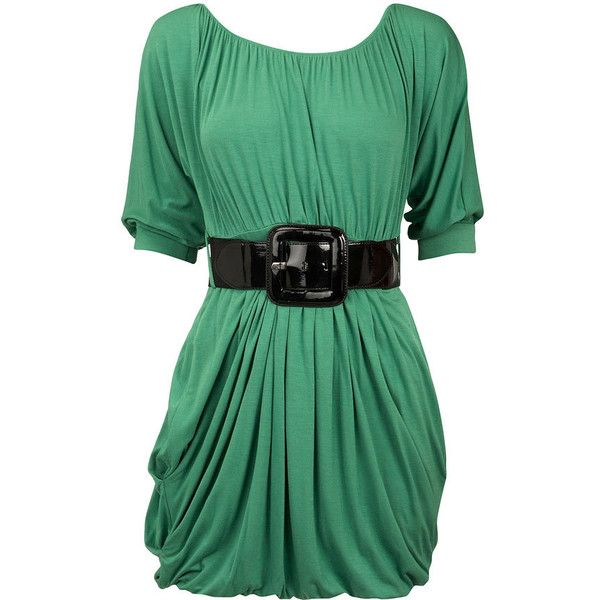 Dorothy Perkins - Green batwing belted tunic (£28) ❤ liked on Polyvore featuring tops, tunics, dresses, vestidos, shirts, green tunic, batwing tunic, belted tunic, batwing shirts and batwing tops