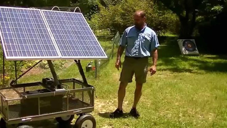 Portable solar battery charger, 200 watt on a wagon. Great backup.
