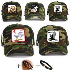 Kamuflaj Horoz Kartal Aslan Geyik Kurt Şapka Özel Yeni Moda Seri
