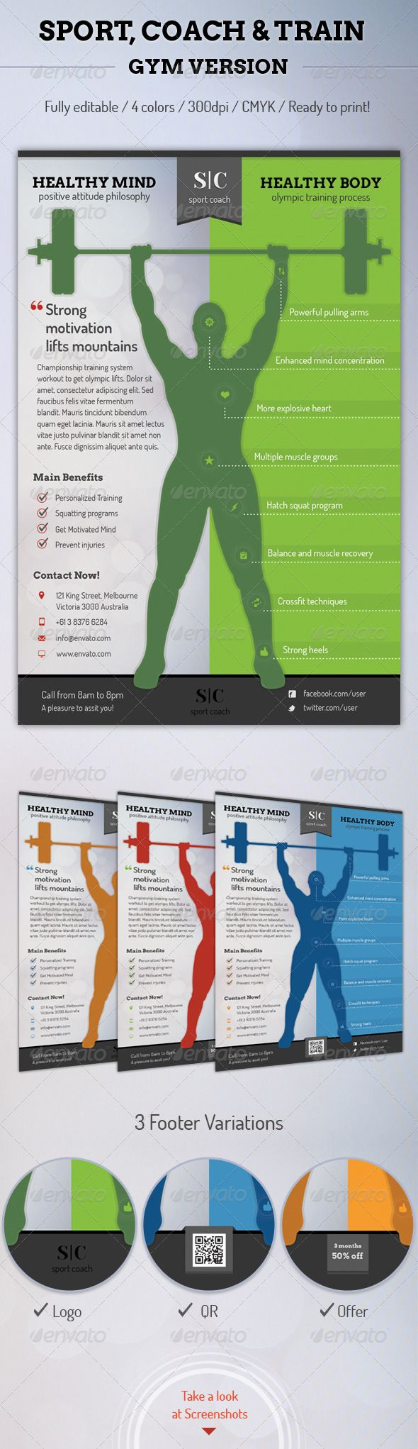 Sport Coach and Train Flyer - Gym Version by Sargatal NEW: Sport Coach and Train Flyers Bundle! http://graphicriver.net/item/sport-coach-and-train-flyers-bundle/6433104This is a profes