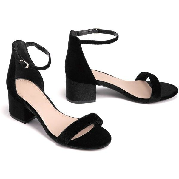 Black Velvet Low Block Heels ($25) ❤ liked on Polyvore featuring shoes, pumps, black velvet pumps, black shoes, black pumps, ankle strap shoes and open-toe pumps