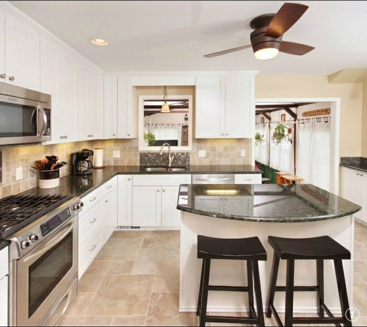 kitchen colors with white cabinets, an example of white cabinets with black tops