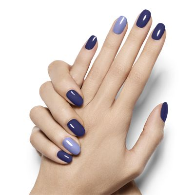 pop of blue By Essie - design a seductive deep violet nail look with a pop of opulent azure thats anything but camera shy.