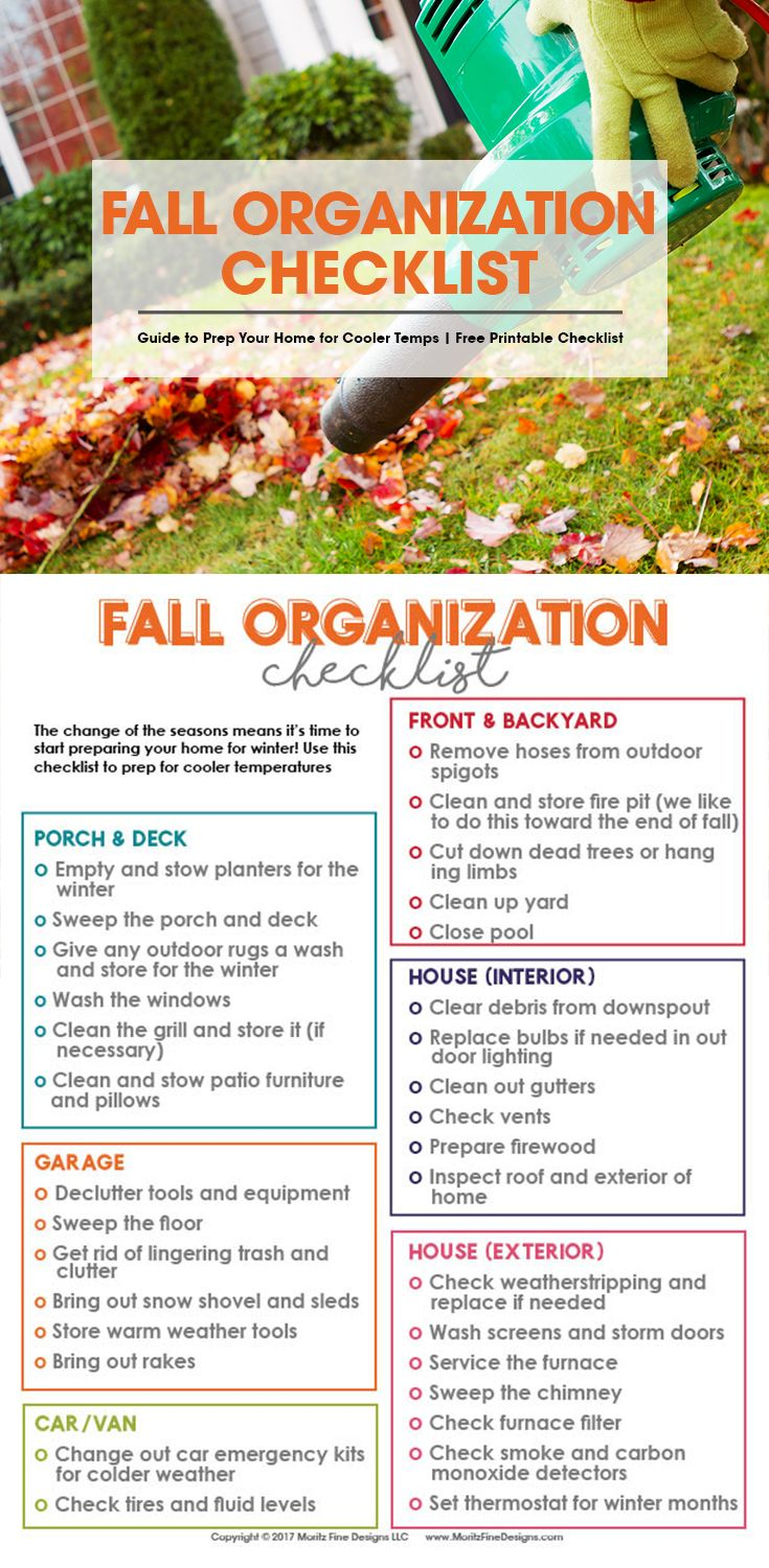 When fall comes along that means there is lots of outdoor (and a little indoor) preparation to make sure your home and yard are ready for the upcoming winter season. I love to use the Fall Organization Checklist to make sure I have taken care of all my winter prep needs. #fallorganization via @moritzdesigns
