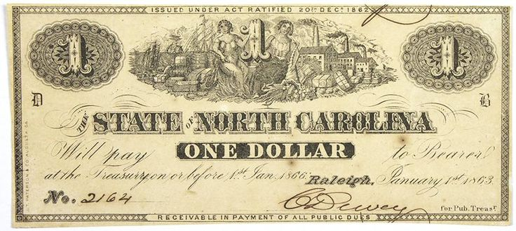 North Carolina Obsolete Currency CR-133 One Dollar Treasury Note 1863