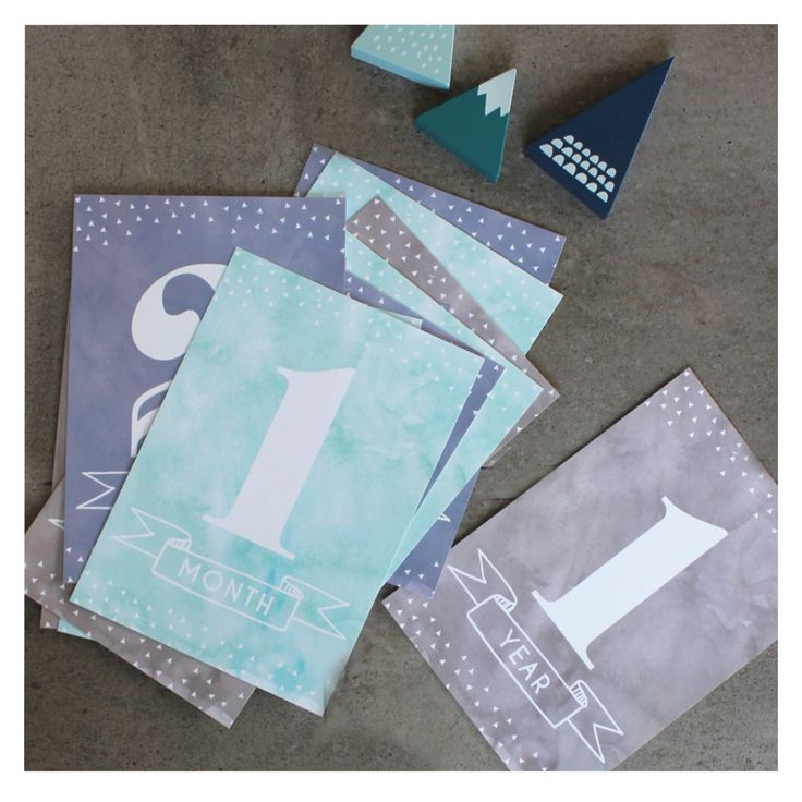 Cloudy // Baby Milestone Card - the perfect baby shower gift, or pregnancy gift. This watercolour design in blues, greens and greys is great for baby boys.