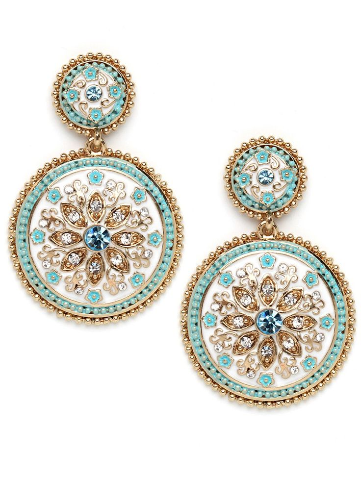 LOVE these!!!  Fabulously exotic, these enamel and 16k gold-plated pendant earrings feature mosaic-like florals embellished with pops of crystal bling.