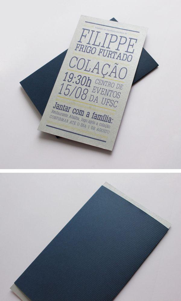 Convite de formatura by Manuela Cunha Soares, via Behance