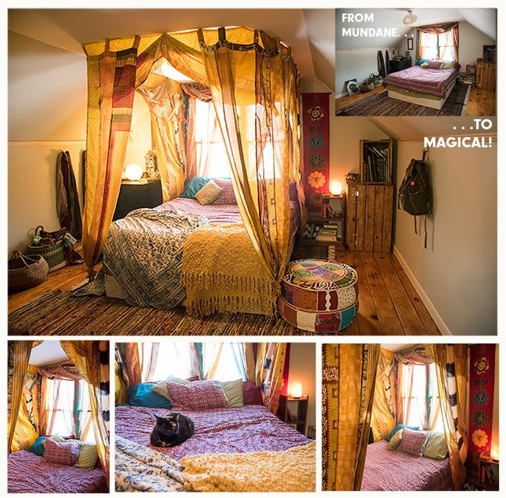 create your own boho canopy bed in less than an hour w recycled silk curtains - Canopied Beds