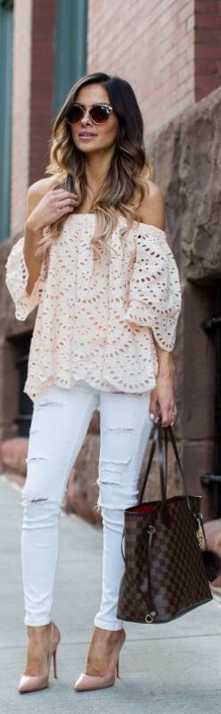 Eyelet. Get the same look at this link: https://www.thebluedoorboutique.com/Eyelet-Off-Shoulder-Top-Peach.html