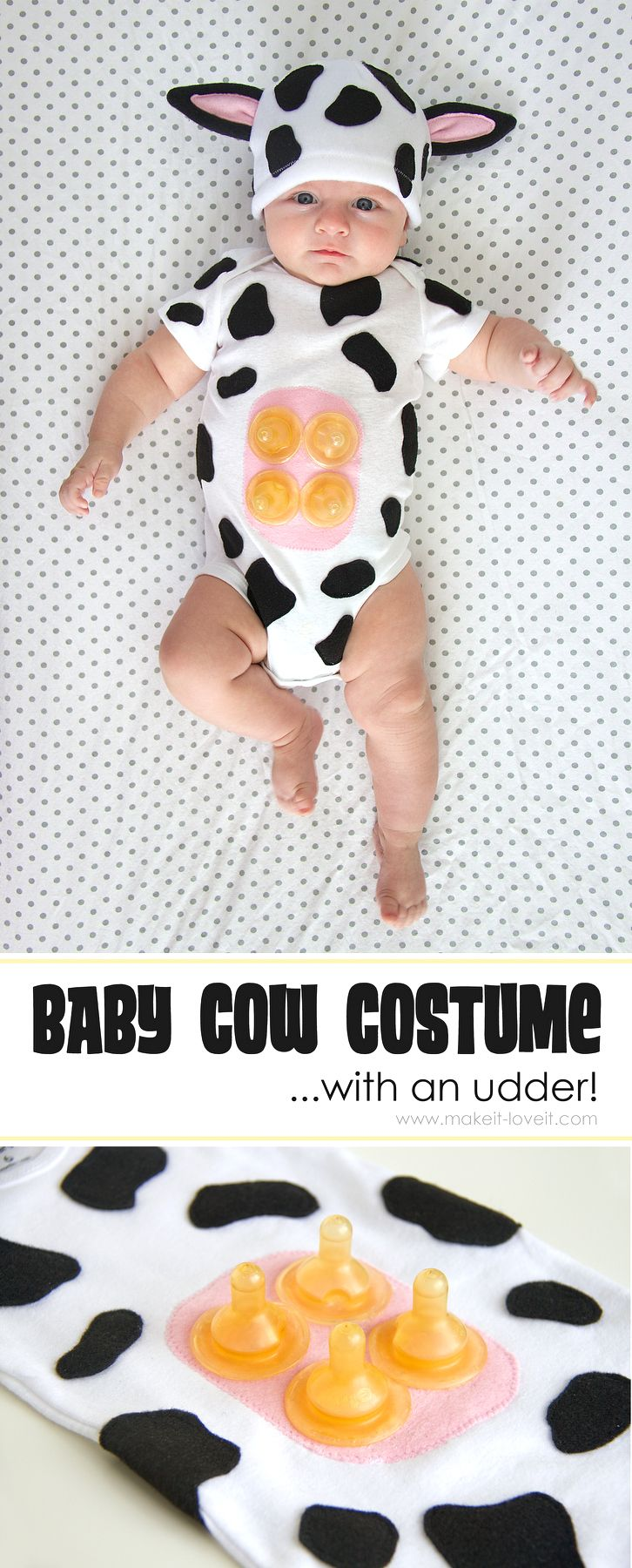 A simple DIY Baby Cow Costume...with an Udder! | via Make It and Love It #halloween2014