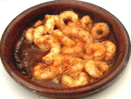 Gambas Pil Pil recipe- Sizzling prawns in garlic, chilli & olive oil, more, more, more....