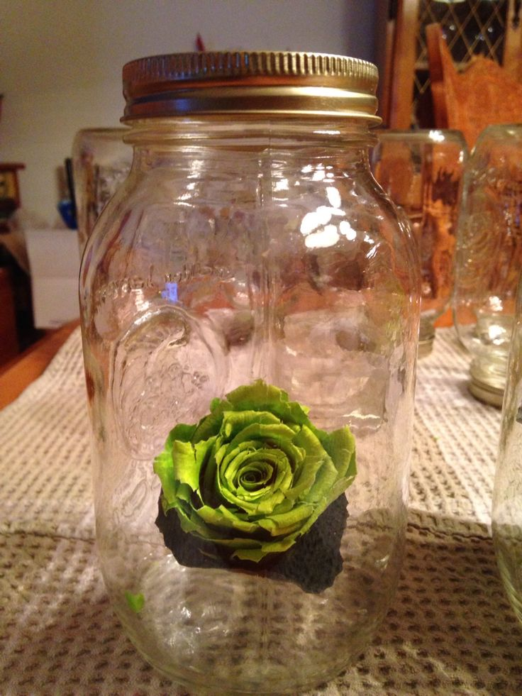 Idée pour Conserver la Boutonnière en Rose Éternelle du Marié! En Réutilisant les Pots Masson qui ont servis pour les Centres de Tables.