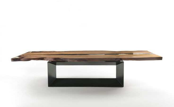 Cube table, C.R.&S. Riva1920, 2015 The Cube table is part of the Kauri range, in upcycled 48.000 year old prehistoric subtropical timber. Its unique table top is supported by a metal base, available in various styles.  | @riva1920 #wood #natural #green #ecologic