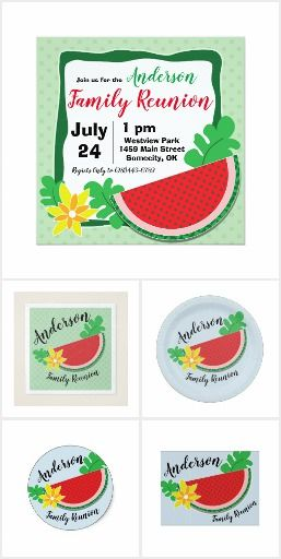 watermelon reunion collection editable invitation template summer
