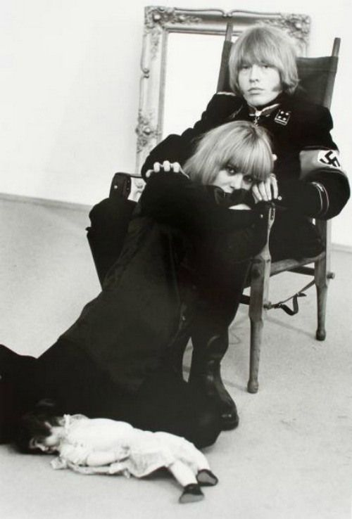 Brian Jones in a Gestapo uniform with Anita Pallenberg