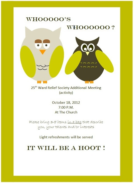 Whooo's Who invitation: Owl Themes, Relief Society, Addition Relief, Society Meeting, Society Ideas, Rs Activities, Society Activities, Activities Ideas, Getting To Know
