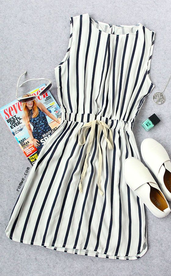 Black Striped Drawstring Waist Dress