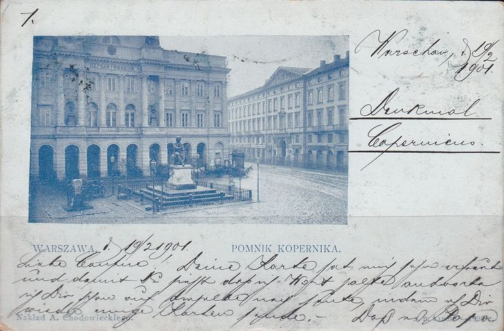 what a calligraphy! Kopernik Monument, postcard around 1901
