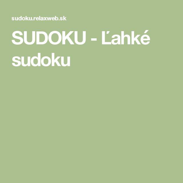 SUDOKU - Ľahké sudoku