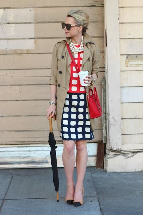 : Atlantic Pacific, Squares, Fashionista, Street Style, Outfit, Dresses, Trench, Milly Dress