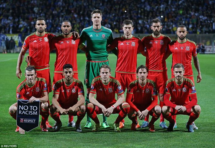 The Wales starting XI line up ahead of kick-off as they looked to secure the point they needed to confirm their place in Euro 2016