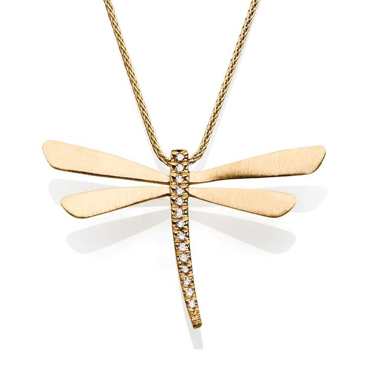 Gold Dragonfly Necklace With Diamonds