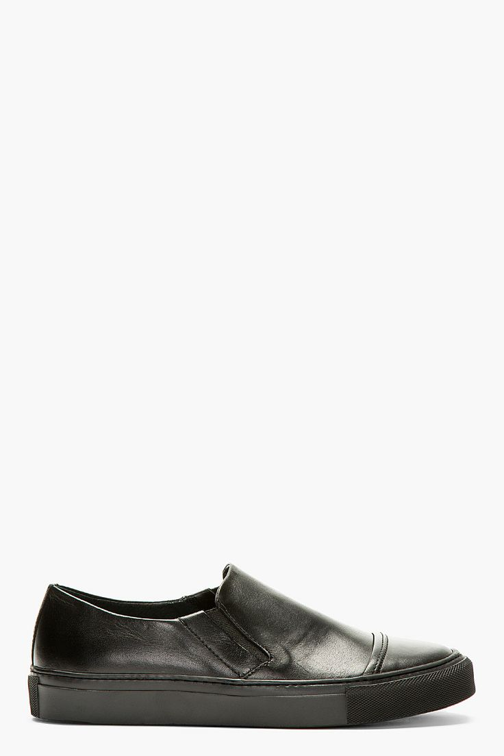 SILENT BY DAMIR DOMA Black Leather Capped Slip-On Sneakers