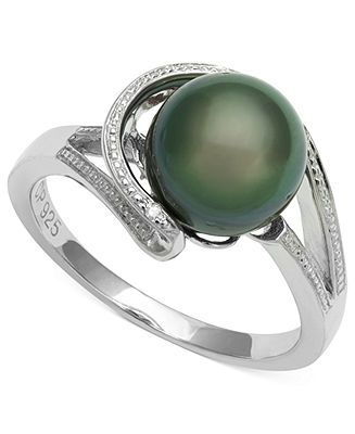 Cultured Tahitian Black Pearl (8mm) and Diamond Accent Circle Ring in Sterling Silver - Pearls - Jewelry & Watches - Macy's
