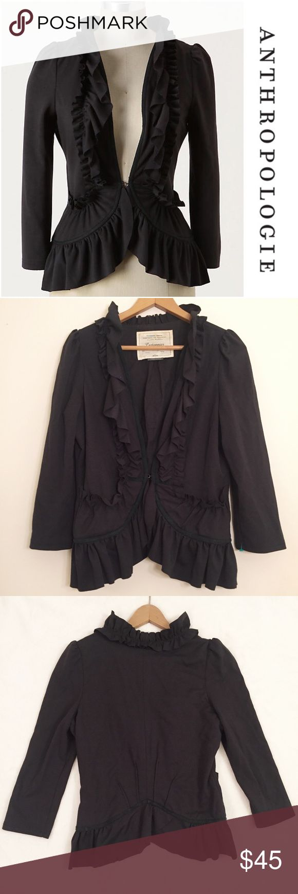 JUST IN ANTHROPOLGIE Cartonnier Redux Jacket Cartonnier's classic blazer eschews tweed and lapels in favor of stretch-knit and rows of ruffles, hook-and-eye closure, polyester, spandex, cotton lining, in excellent condition. Anthropologie Jackets & Coats Blazers