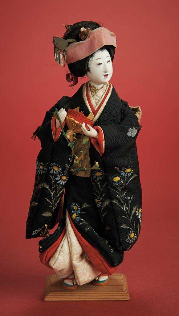 Petite Bride Doll with Beautfully Painted Kimono, Bridal Coiffe, Circa 1880  1100/1400